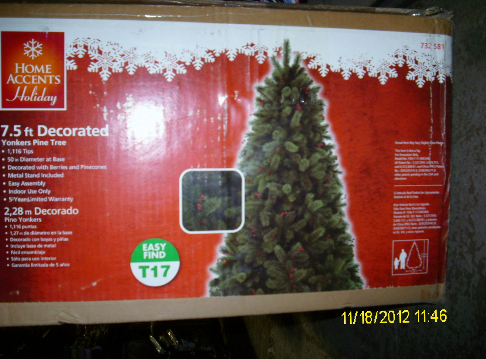 Home Holiday 7.5 Ft. Unlit Decorated Yonkers Pine Cones