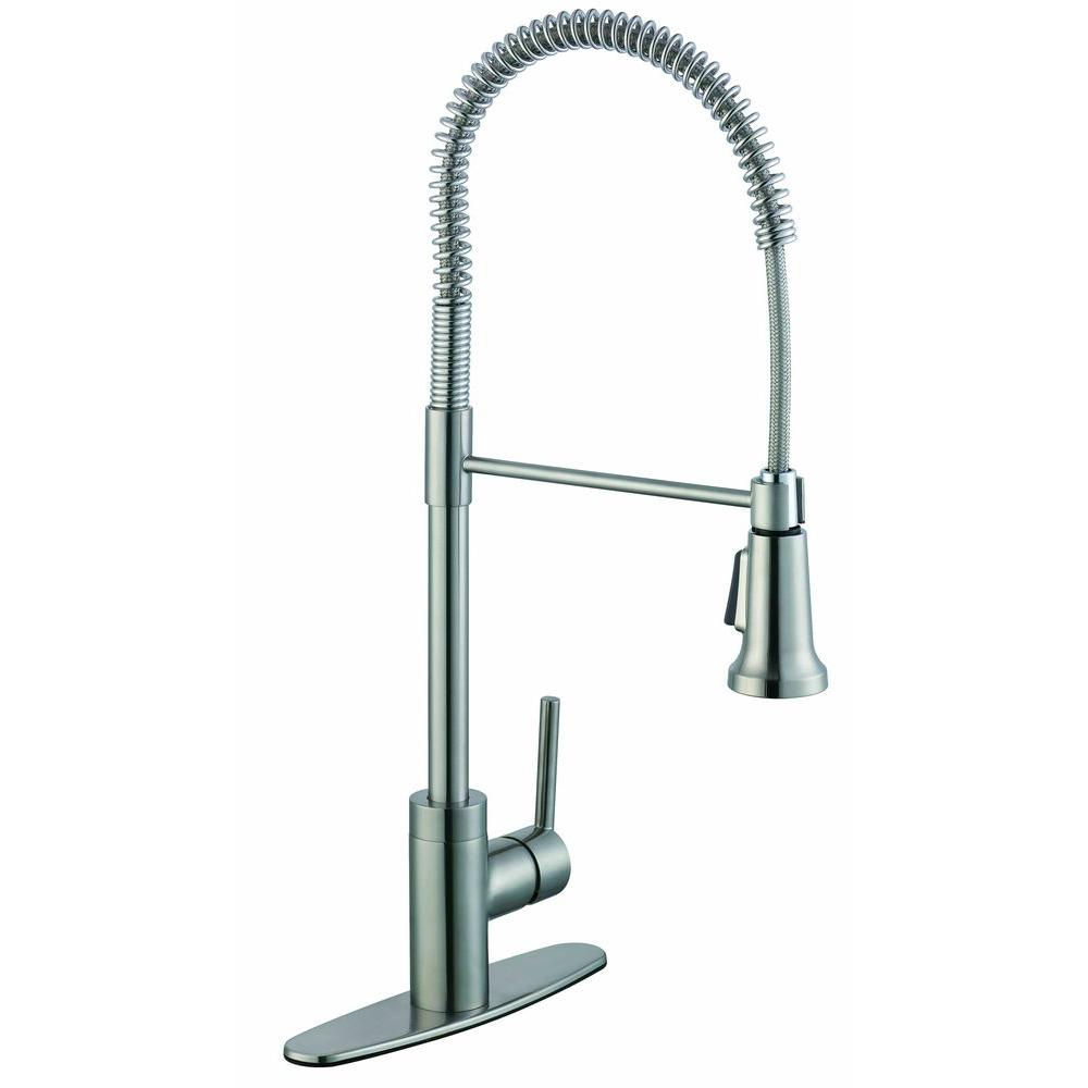 Glacier Bay 1 200 Series Pull Down Sprayer Kitchen Faucet In Stainless Steel Pppae Avi Depot