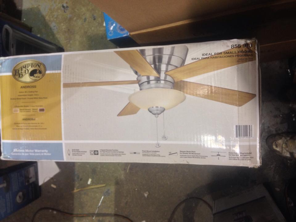 Hampton Bay 14939 Andross 48 In Brushed Nickel Ceiling Fan PPPS1AE Avi Depo