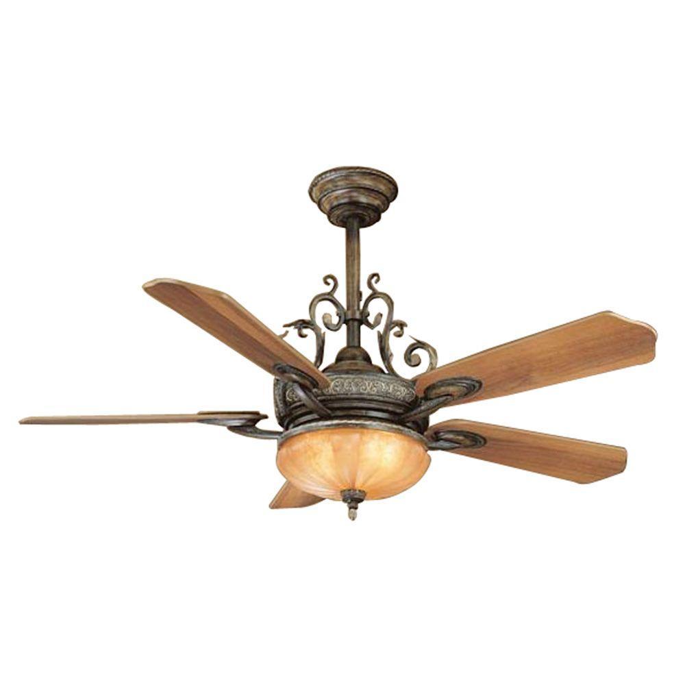 Hampton Bay 34012 Chateau Deville 52 in. Deville Walnut Ceiling Fan ...