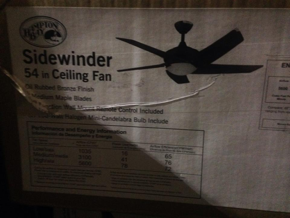 Hampton Bay 34891 Sidewinder 54 In Oil Rubbed Bronze Ceiling Fan PPPSAE Avi