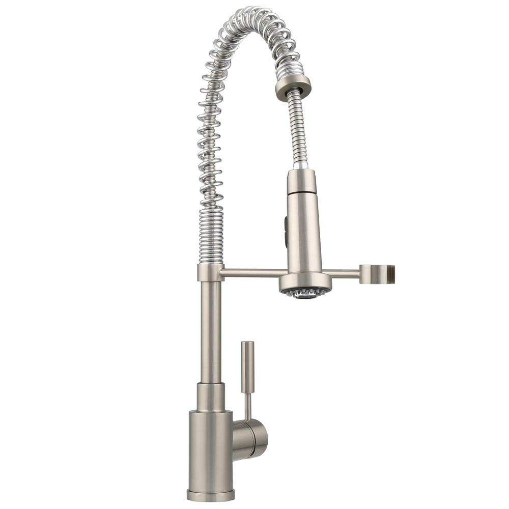 blanco meridian semi professional kitchen faucet blanco 440557 meridian semi professional kitchen faucet in satin nickel bw pppb avi depot much 9645