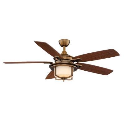 Hampton Bay AL685 WB Devereaux II 52 In Weathered Brass Ceiling Fan PPPAE A