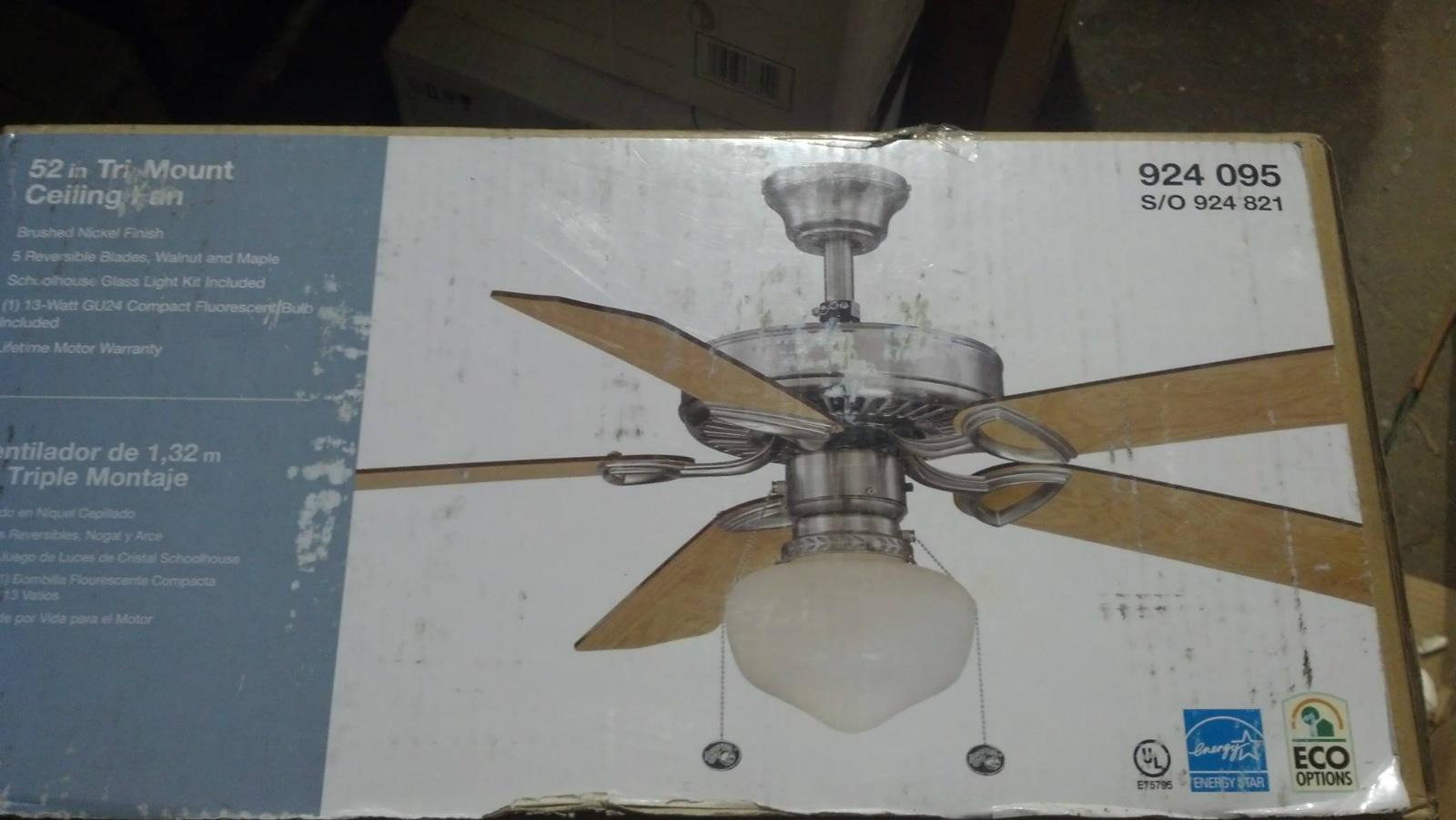 Hampton bay ceiling fan warranty - Brushed Nick Hampton Bay Yg269 Bn Tri Mount 52 In Brushed Nick