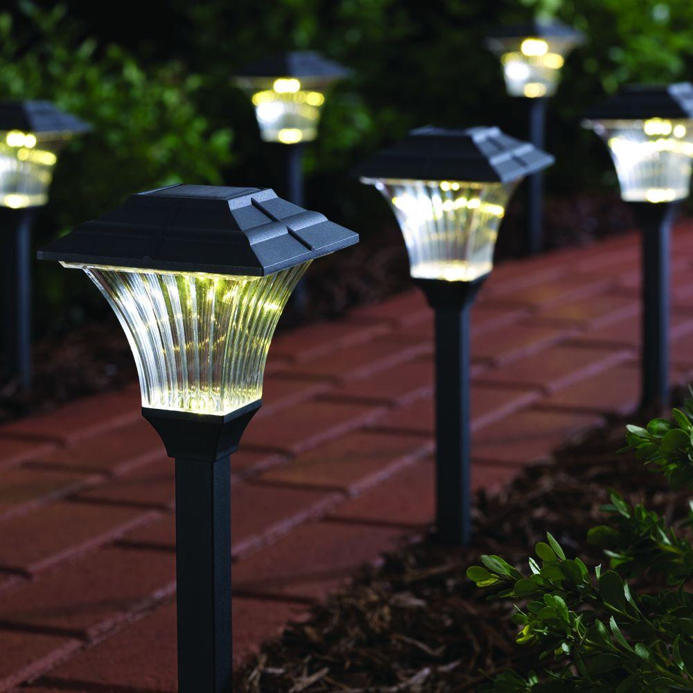 Hampton Bay GX-1917-P-PC Square Plastic Solar LED Pathway Light (6-Pack) PPPA, Avi Depot=Much ...