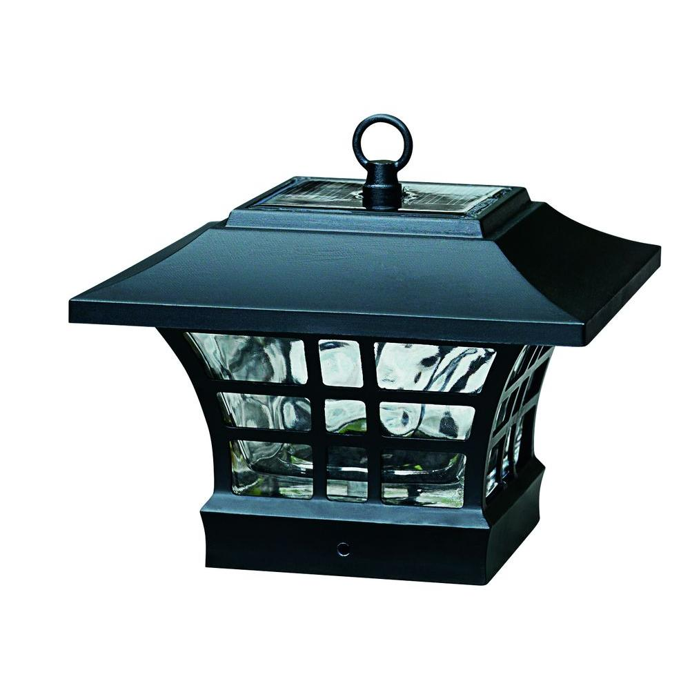 Hampton Bay Gx 4511 2pk Solar Black Led Deck Post With