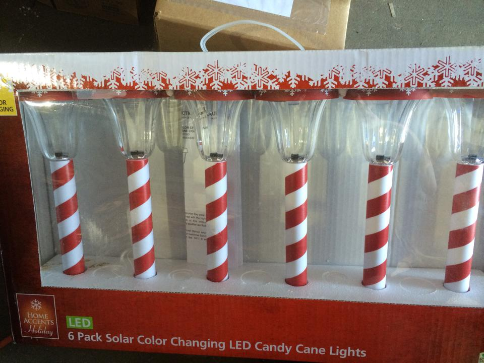 Home Accents Holiday Candy Cane Solar Lights 6 Pack Pppa