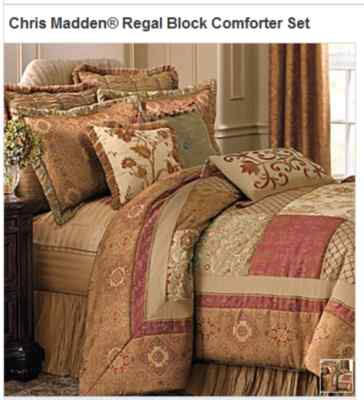 Chris Madden Regal Block Comforter Set King New