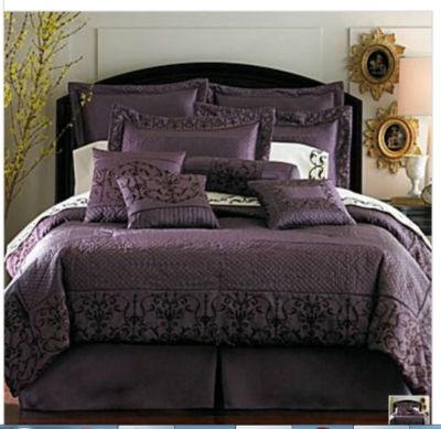 Winstone 16pc Comforter Set Queen Plum New