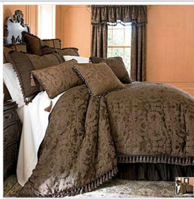 Chris Madden Brown Damask Jacquard Queen Comforter Set NEW, dealsplusdiscounts