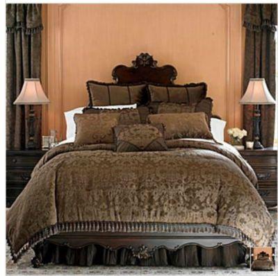 Chris Madden Brown Damask Jacquard Queen Comforter Set New