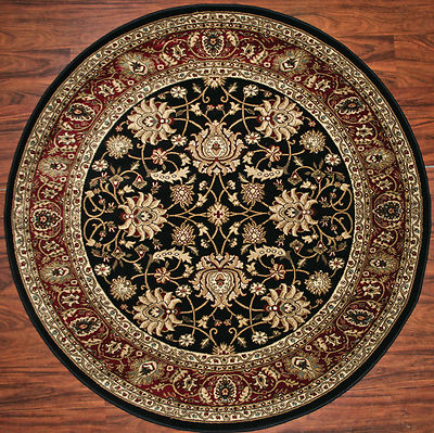 5 Foot Round Area Rug Rugs Mahal Black Claret Red Border