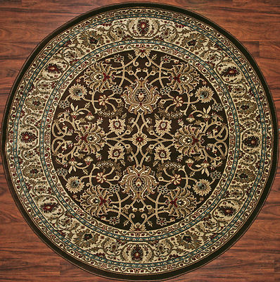 5 Foot Round Area Rug Rugs Mahal Brown Blue Beige Border