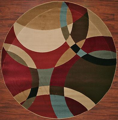 5 Foot Round Area Rug Rugs Circles Rings Black Blue Red Beige Modern