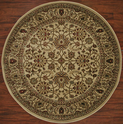 5 Foot Round Area Rug Rugs Mahal Ivory Beige Border New