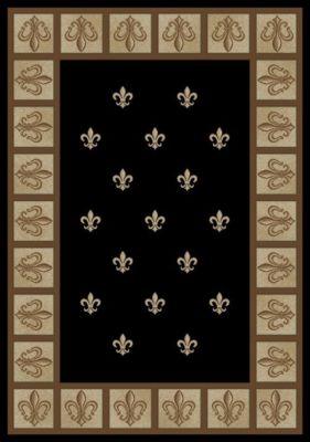 3x5 Area Rug Fleur De Lys French New Modern Black Ebony