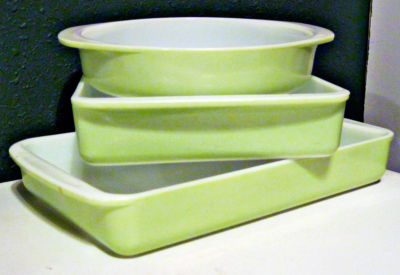 Vintage Pyrex 3 Piece Bright Lime Green Yellow Bakeware