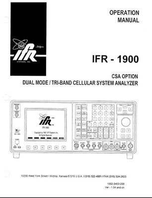 IFR 1900 CSA  Service Monitor Operation Manual IFR