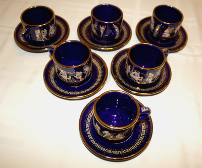 Hand Made In Greece 24k Gold Trim Set Of 6 Cups Amp Saucers