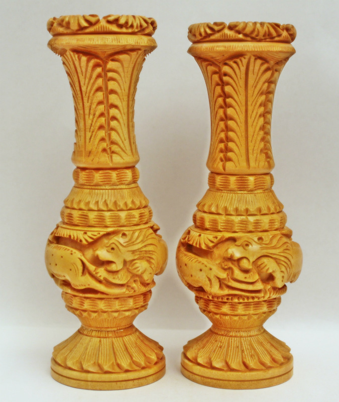 Handmade Wooden Carving Matka Flower Vase Pair Nandi Arts