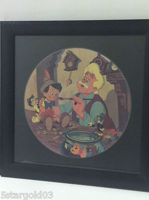 "Pinocchio Framed Collectible ART Record 17"" x 17"""