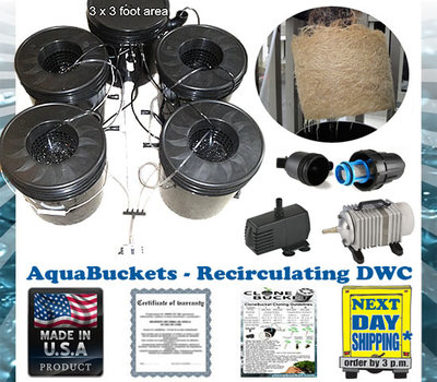 AquaBuckets 4 Deep Water DWC Kit Hydroponic system, Deep