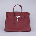 Designer Inspired 35cm Burgundy with Silver Hardwa