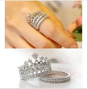 2pc CZ Princess Crown Rings (FREE SHIPPING) 28532d4fd2c7