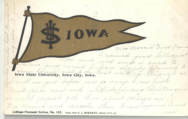 1907 Iowa Pennant Postcard Rare Find