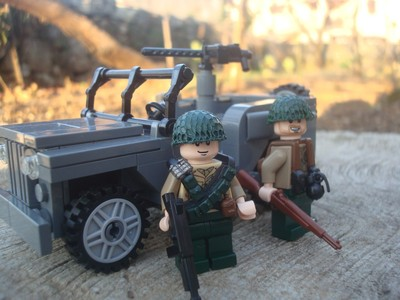 Lego Custom Set Ww2 Us Jeep Willys 50 Cal Browing And Minifigs