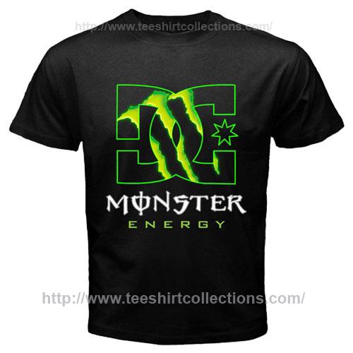 new monster energy dc shoe logo t shirt black auto. Black Bedroom Furniture Sets. Home Design Ideas