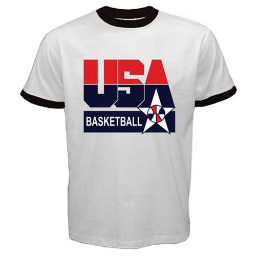 Usa basketball fiba national team old logo symbol ringer t for Old school basketball t shirts