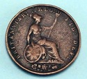 1853 Halfpenny Great Britain Victoria Britannia Co