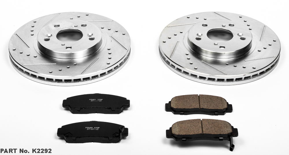 Power Stop K4342 Front and Rear Z23 Evolution Brake Kit with Drilled//Slotted Rotors and Ceramic Brake Pads