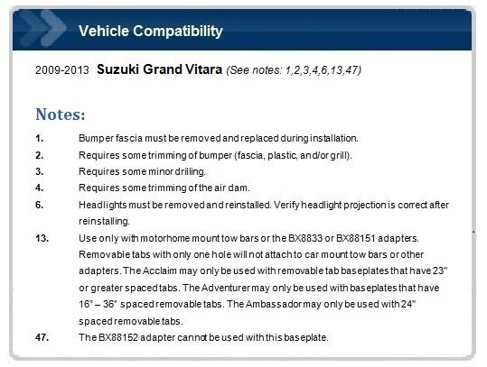 Blue Ox Bx3523 Tow Bar Baseplate For Suzuki Grand Vitara Ebay
