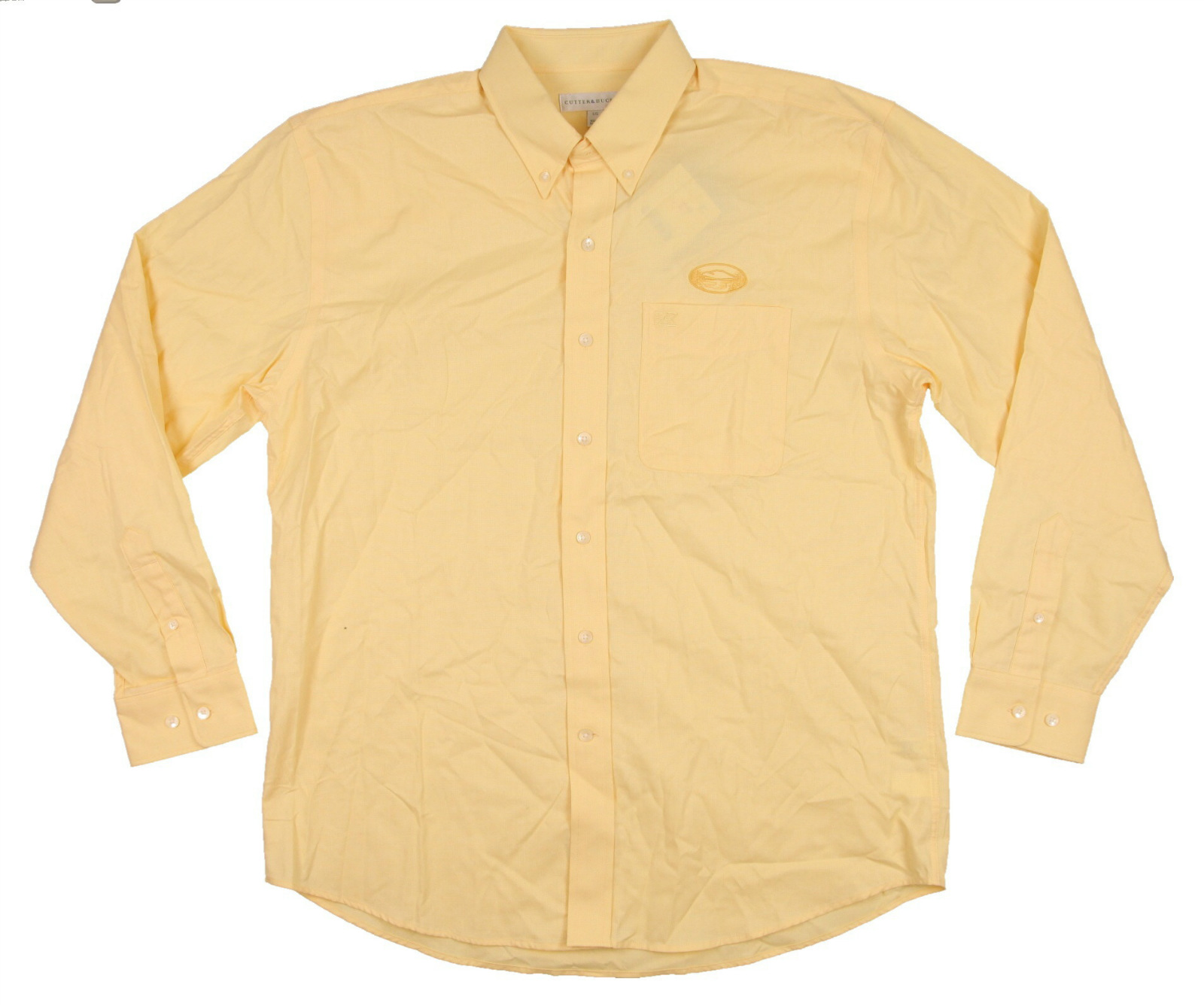 new men 39 s cutter buck button up dress shirt pale yellow