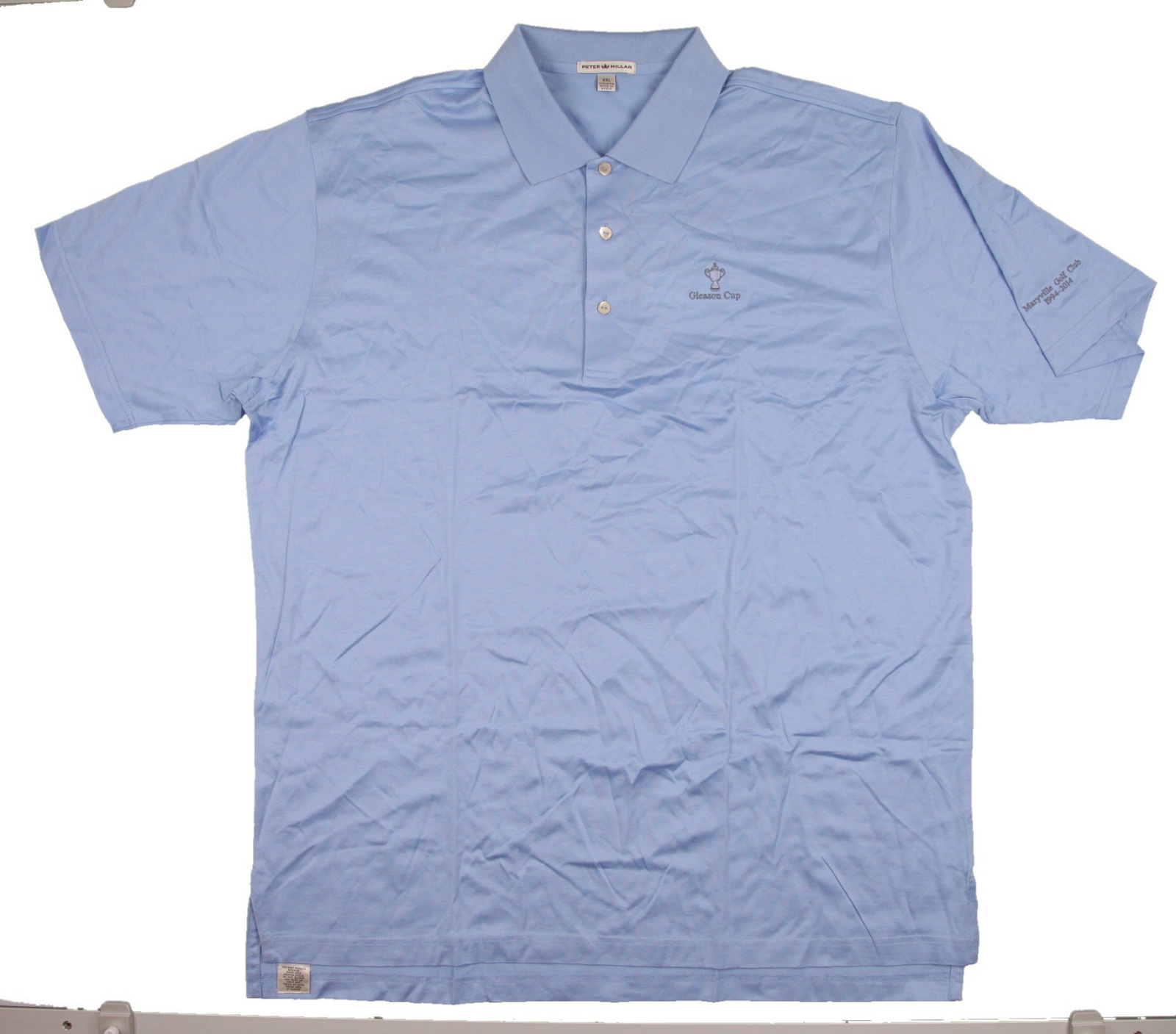 New men 39 s peter millar long sleeve golf polo shirt sky for Peter millar golf shirts