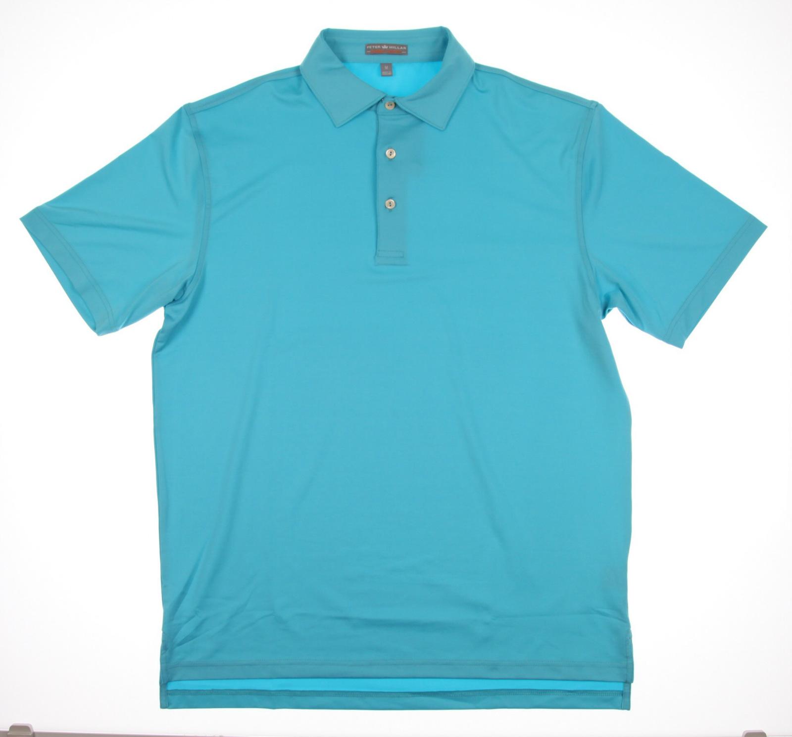 New Men 39 S Peter Millar Polo Golf Shirt Turquoise Sz Medium
