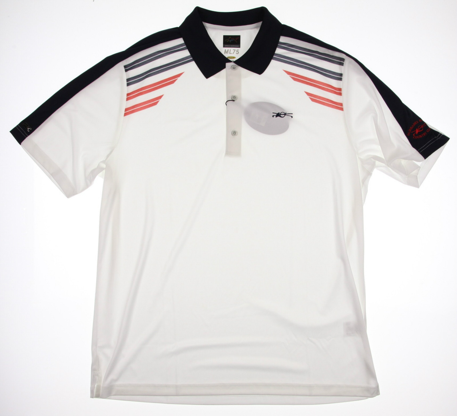 New men 39 s greg norman ml75 play dry golf polo shirt white for Greg norman ml75 shirts