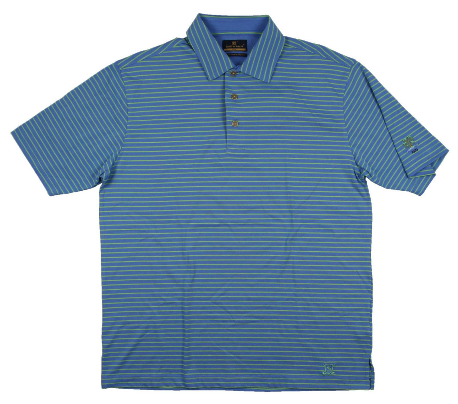 New men 39 s sakmann golf polo shirt blue green yellow sz for Yellow golf polo shirts