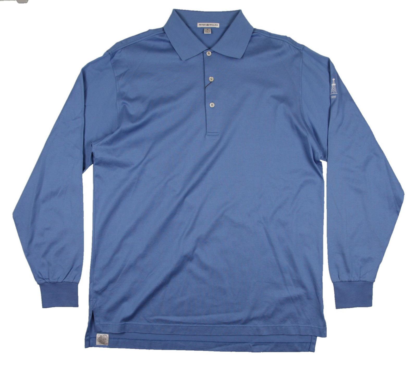 New men 39 s peter millar longsleeve golf polo shirt carbon for Peter millar golf shirts