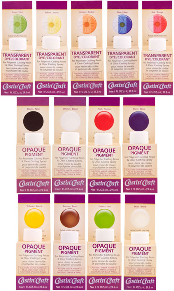 Castin craft opaque pigments transparent dyes casting for Castin craft resin dye