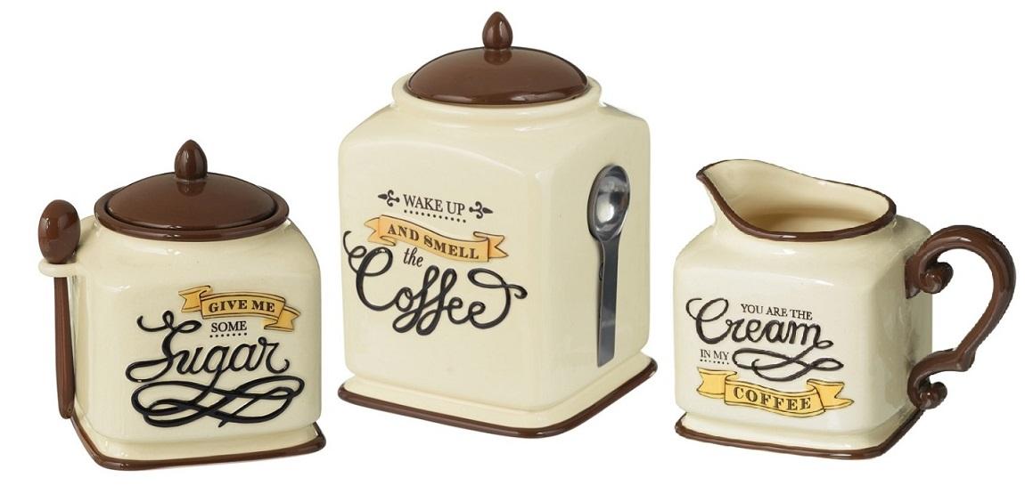 Http Ebay Com Itm New Coffee Themed Canister Sugar Bowl Amp Creamer Kitchen Decor Gift Set 380748346474