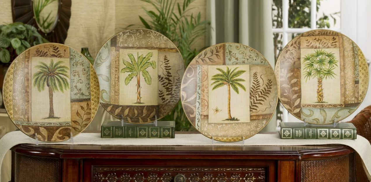 New palm tree decorative plate choice tropical home decor for Palm tree home decorations