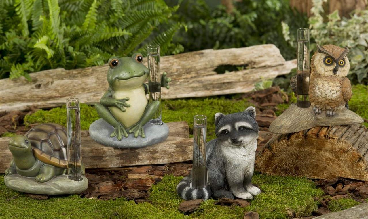 New GARDEN ANIMAL RAIN GAUGES Choose Turtle, FROG, Raccoon or OWL ...