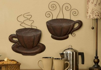 New metal steaming coffee cup plaques pair brown java for Coffee decor ideas for kitchen