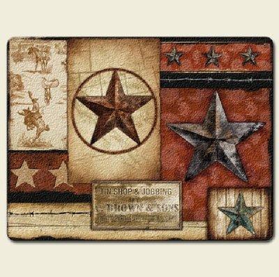 Http Www Ebay Com Itm New Western Barn Star Cutting Board Kitchen Decor Red Cowboy Glass Accent Decor 291018653630