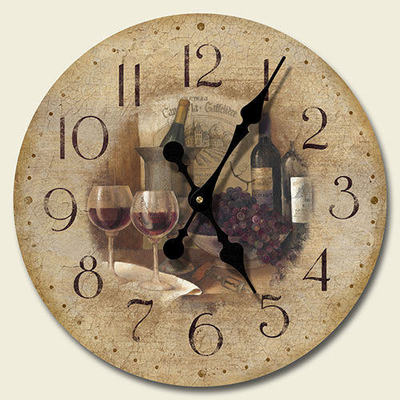 new tuscany wine glasses grapes wall clock kitchen decor. Black Bedroom Furniture Sets. Home Design Ideas
