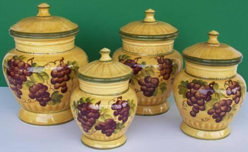 Tuscany Ceramic 4 Pc Grape Canister Set Wine Kitchen Decor Accent Food Storage Ebay