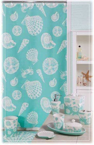 New Aqua Blue White SEASHELL BATH SET Coastal Bathroom